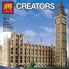 Lele 30003 criador grande ban streetview série compatível 10253 grande ben modelo arquitetura blocos de construção tijolos educa