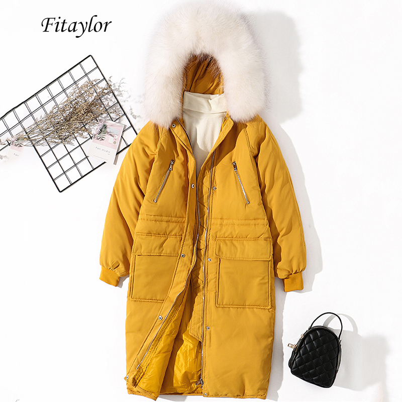 Fitaylor Winter Women Large Natural Raccoonfur Collar White Duck   Down   Parkas Hooded   Down   Jacket   Coat   Slim Sash Tie Up Snow   Coat