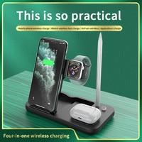 Cargador inalámbrico Qi 4 en 1 de 15W, soporte de estación de carga rápida para apple watch, airpods, Iphone 12, Samsung Redmi, teléfono móvil