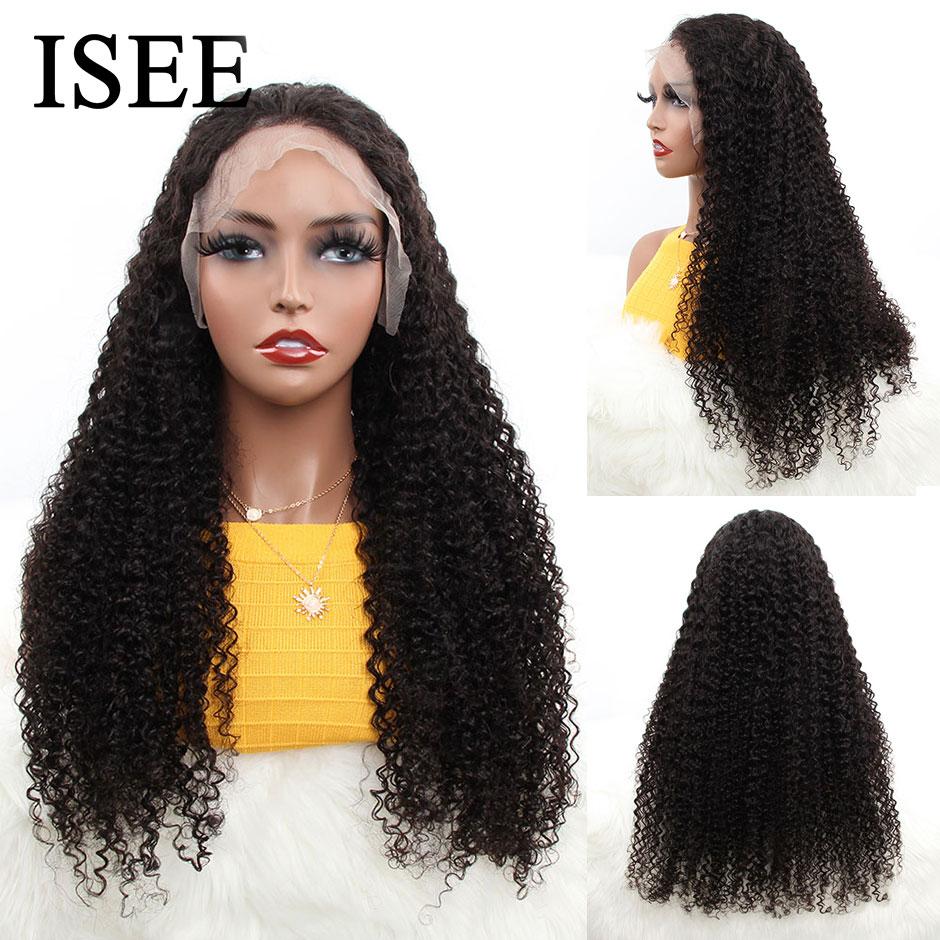 Kinky encaracolado perucas de cabelo humano 150% densidade 13x4 peruano perucas de cabelo humano cor natural remy isee frente do laço do cabelo perucas de cabelo humano - 2