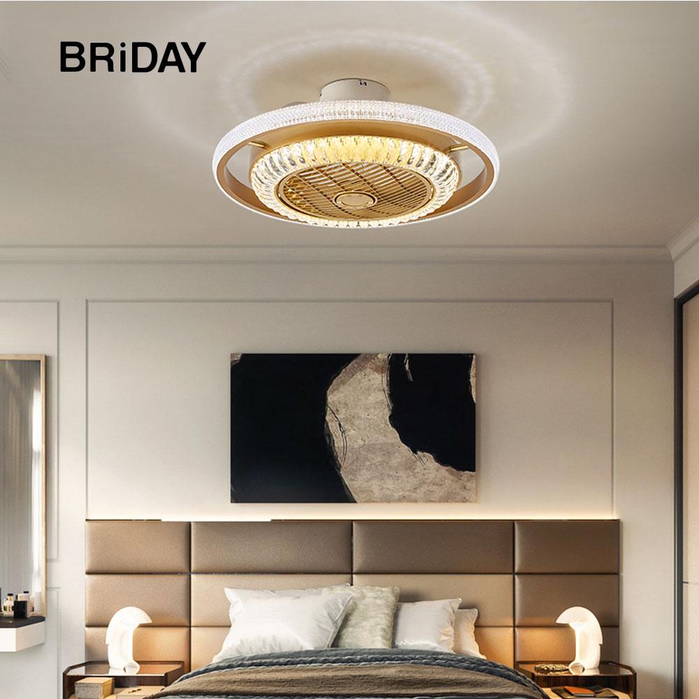 Bluetooth Crystal Smart Modern Led Ceiling Fan Lamps With Lights App Remote Control Ventilator Lamp Silent Motor Bedroom Decor
