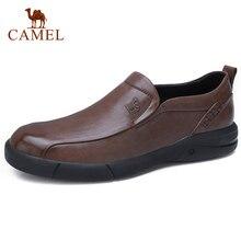 CAMEL 남성 캐주얼 신발 영국 조수 큰 두피 남성 로퍼 남성용 오일 왁스 소프트 소 가죽 비즈니스 캐주얼 신발 미끄럼 방지