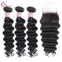 LS Hair Brazilian Loose Wave Deep Bundles With Closure 3/4 long Remy Human Weave hair care & styling