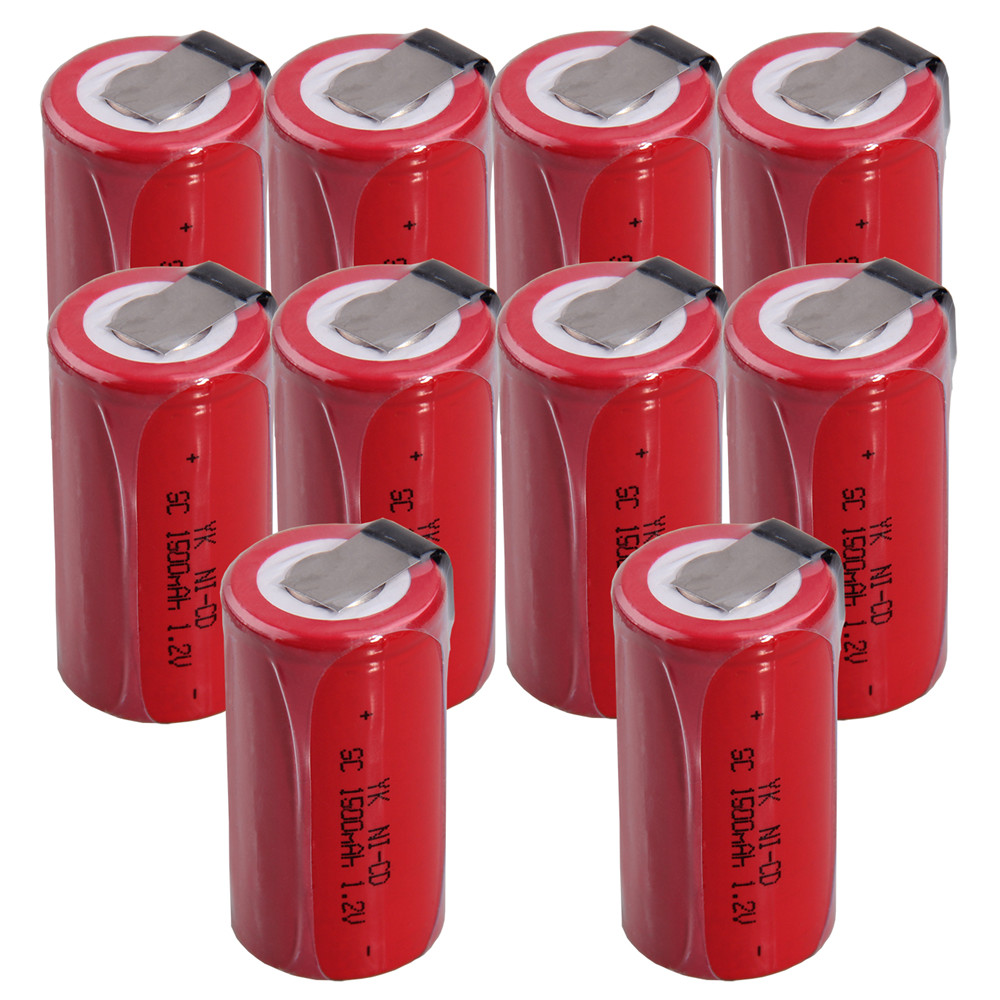 10 pcs SC <font><b>1500mah</b></font> <font><b>1.2v</b></font> <font><b>battery</b></font> <font><b>NICD</b></font> rechargeable <font><b>batteries</b></font> for makita bosch B&D Hitachi metabo dewalt for power tools image