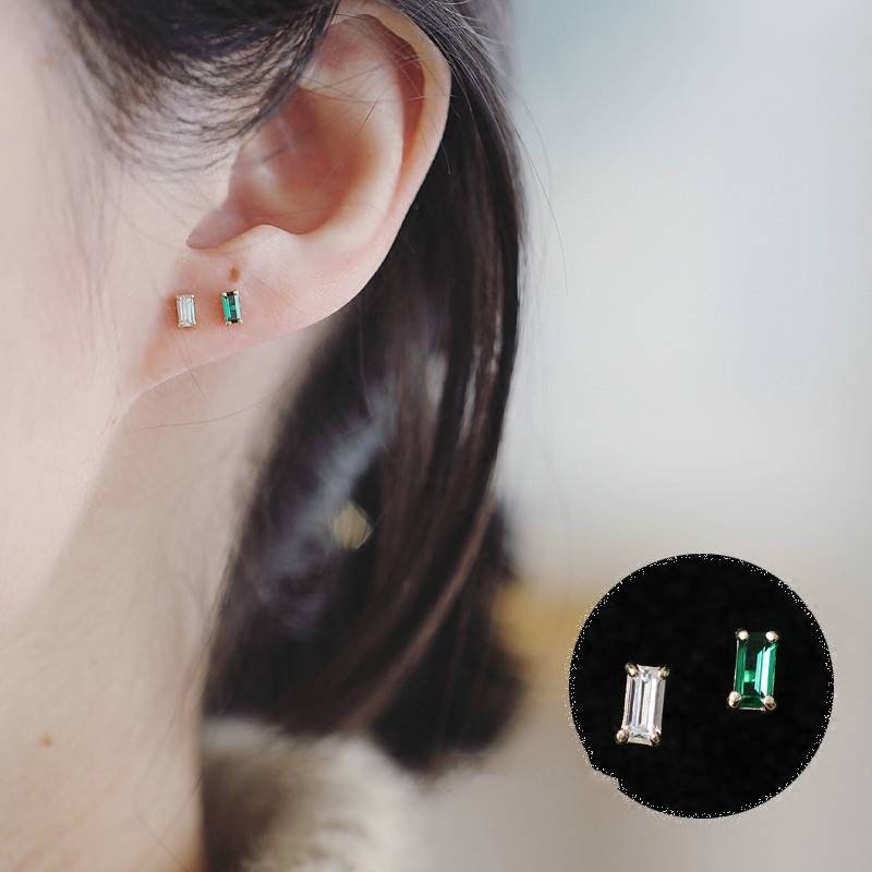 Stud-Earring Jewelry Crystal Emerald Bride Wedding-Bridesmaid Minimal-Style 14K Solid Gold title=