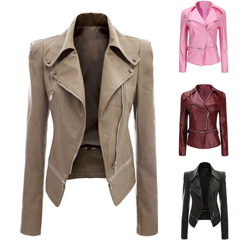 נשים 2019 סתיו zipeer רך עור מעיל מעיל תורו למטה צווארון מזדמן Pu אופנוע שחור פאנק הלבשה עליונה
