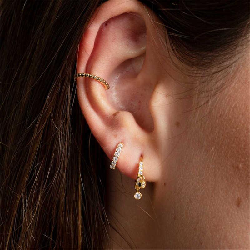 925 argent boucles d'oreilles pour femmes sans Piercing pince boucles d'oreilles hommes or Spike Cartilage oreille os boucles d'oreilles fille cadeau oreille manchette Aretes R5