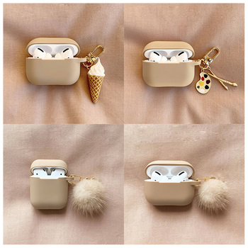fundas For AirPods 1 2 Case Cute Cute Palette Ice Cream Pendant keyring Headphone Case For Airpods 3 Pro Silicone Earphone Cover 1