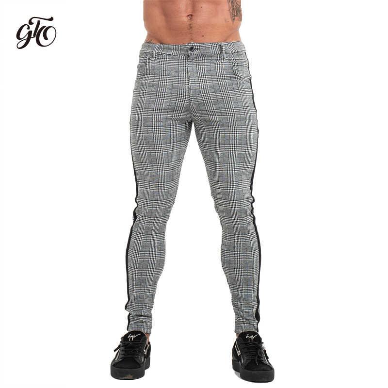 Gingtto Pantalones Ajustados Chinos Para Hombre Pantalon De Diseno A Cuadros A La Moda Color Gris Con Rayas En El Lateral Zm353 Pantalones Informales Aliexpress