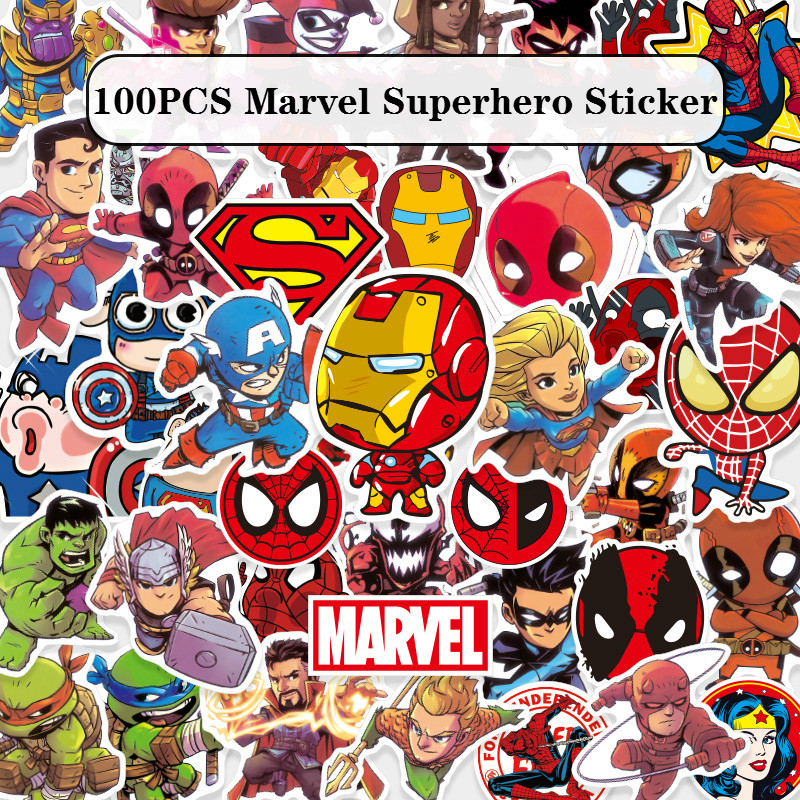 NEW 100Pcs/Lot Marvel Anime Classic Stickers Toy For Laptop Skateboard Luggage Decal Waterproof Funny Spiderman Stickers For Kid