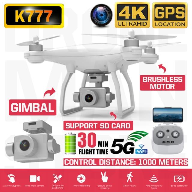 RC Quadcopter K777 Drone 4K GPS HD Zwei Achsen Gimbal Kamera 5G WIFI Bürstenlosen Motor SD Karte eders Professionelle 30 Minuten Flug VS X35