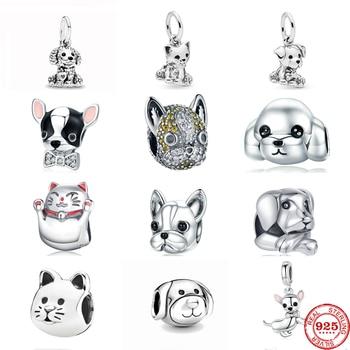 Neastamor Cute Dogs & Cats Dangle Charm Bead Fit Original Pandora Bracelet 925 Sterling Silver DIY  Jewelry Making Women Gift 1