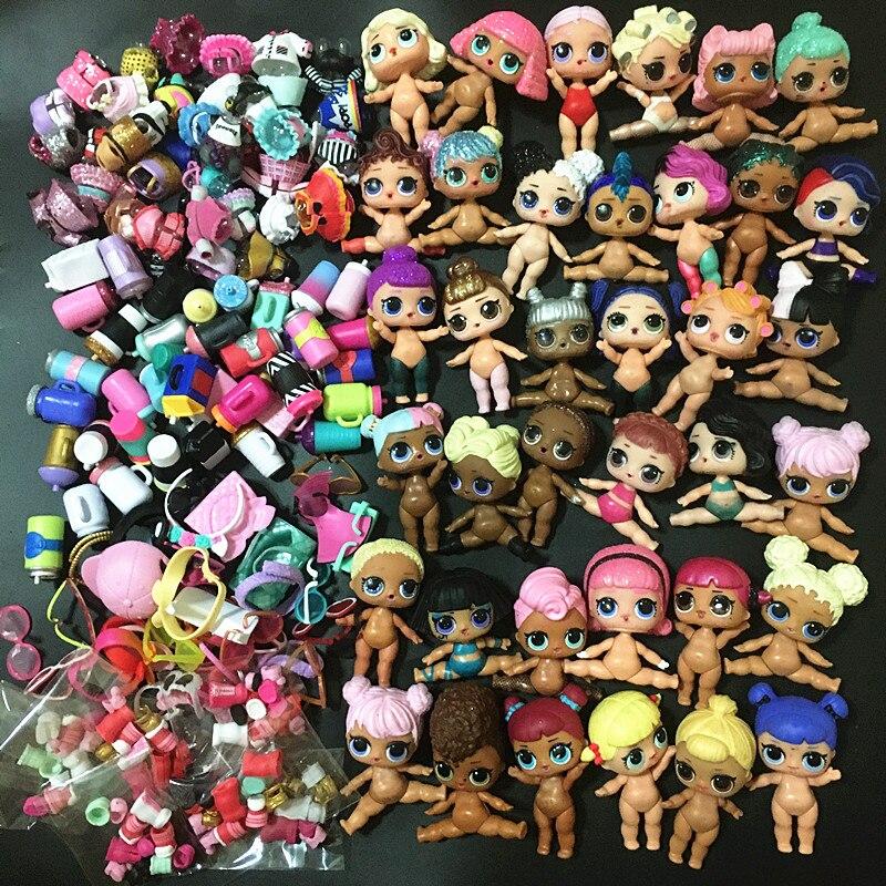 L. o. l. SURPRESA! 6/10/20 pces/lote 8cm bonecas irmã mais velha com roupas aleatórias sapatos garrafas acessórios série 1 2 3 4 lol boneca brinquedo