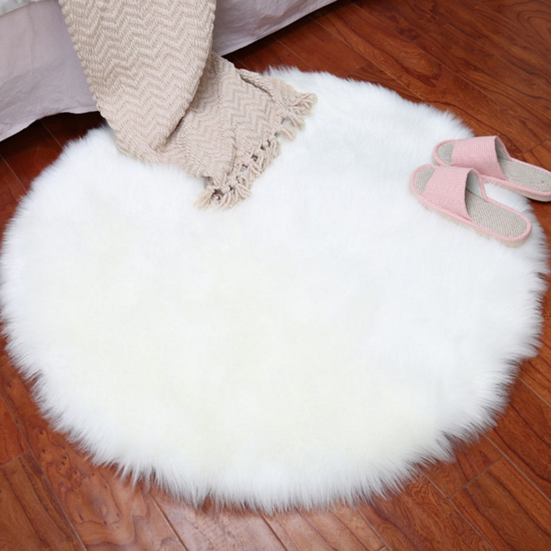 Wool Imitation Sheepskin Carpet Artificial Fur Non-slip Bedroom Furry Carpet Living Room Mat Round Carpet 2019