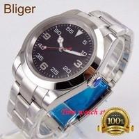 Luxo 40mm bliger miyota 82 preto automático strile dial relógio luminoso homem à prova dwaterproof água cinta data vidro safira polido moldura