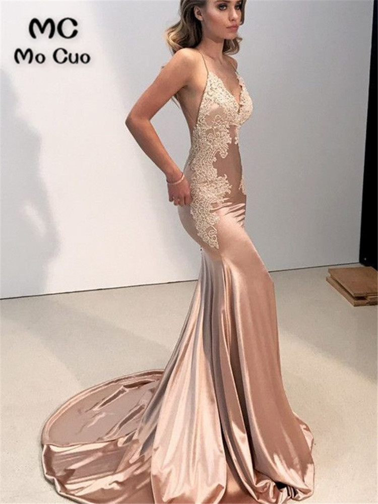 <font><b>Sexy</b></font> Mermaid <font><b>Lace</b></font> Evening <font><b>Dresses</b></font> Long Prom Gown <font><b>Spaghetti</b></font> <font><b>Straps</b></font> <font><b>Backless</b></font> Sweep Train Shiny Satin Evening Party <font><b>Dress</b></font> for <font><b>Women</b></font> image