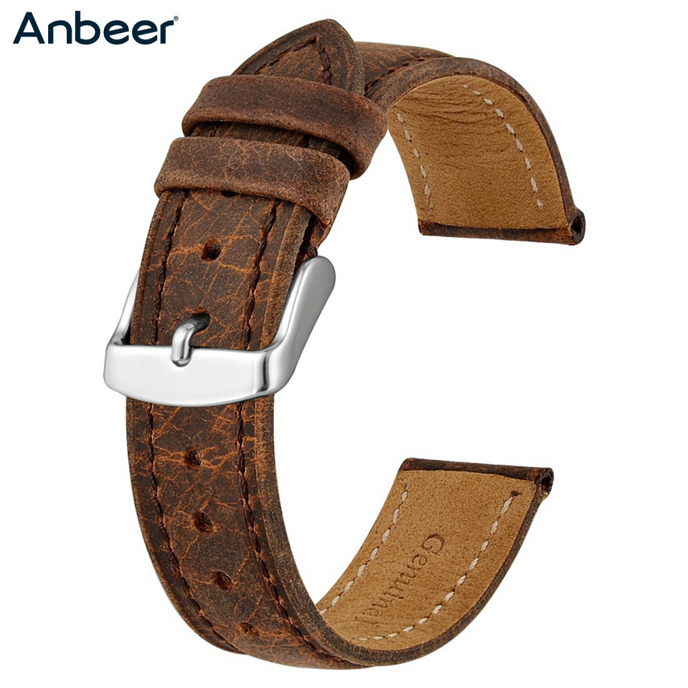 Anbeer Watch Strap 18mm 20mm 22mm Mens Vintage Leather Replacement Stitching Bracelet Watchband Retro Strap Belt