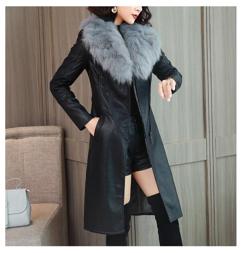 Hd6ecc668cb5f4da1b35df4957f8d9d7eV Vangull Women's Leather Jacket for Winter 2021 New Plus Velvet Warm Slim Big Fur Collar Long Leather Coat Female Outerwear M-4XL