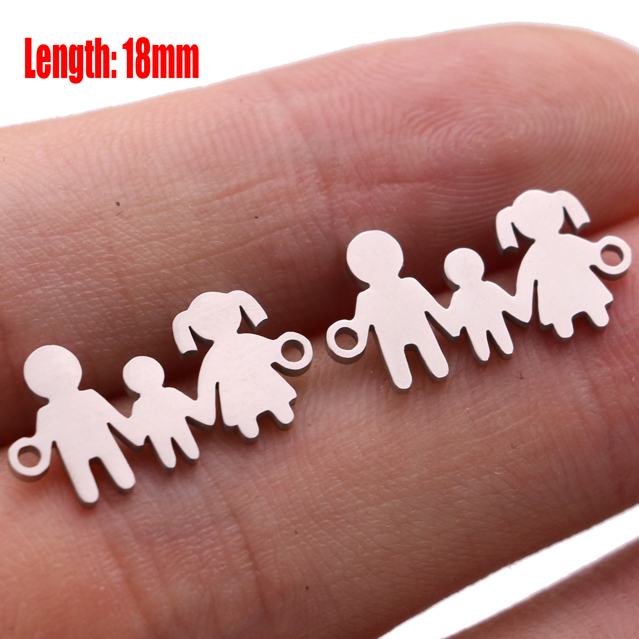 5pcs Family Chain Stainless Steel Pendant Necklace Parents and Children Necklaces Gold/steel Jewelry Gift for Mom Dad New Twice - Цвет: Steel 20