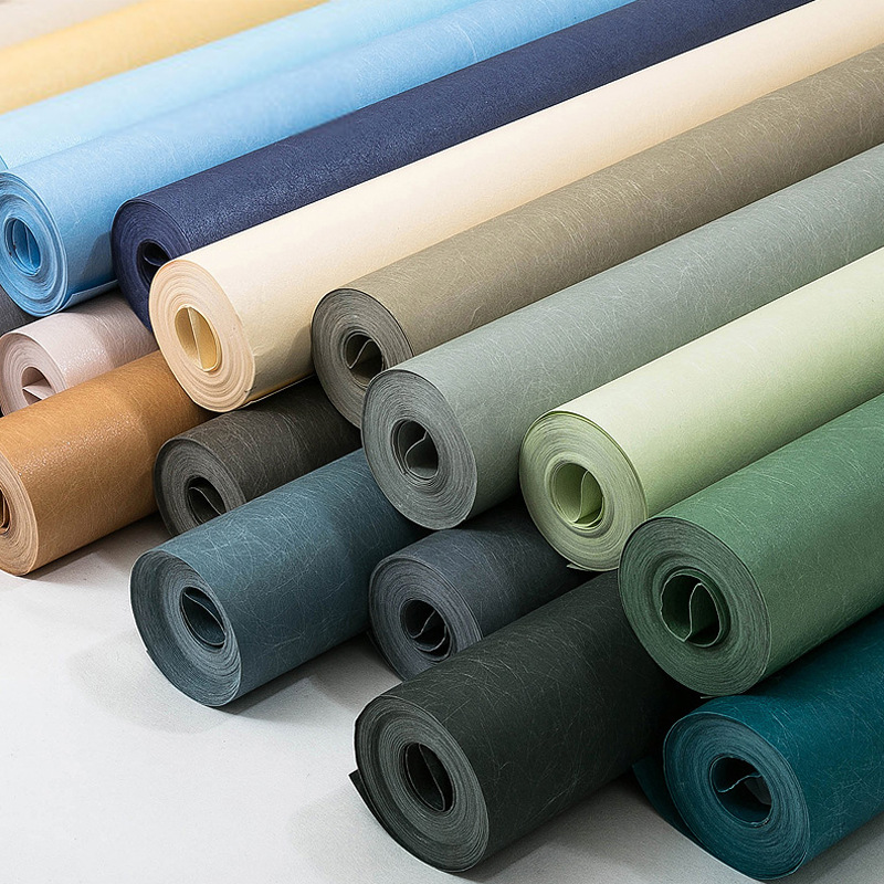 Modern Minimalist Nonwoven Fabric Silk Solid Color Blue-Green Plain Color Wallpaper Bedroom Living Room Television Background Wa