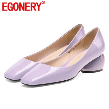 EGONERY genuine cow leather pumps fashion purple mid heels women's shoes cute patent leather party summer mary Jane shoes