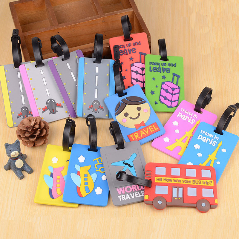 Cartoon Airplane Letter Luggage Tags Portable Suitcase Holder ID Address Baggage Boarding Label Silica Gel Travel Accessories image