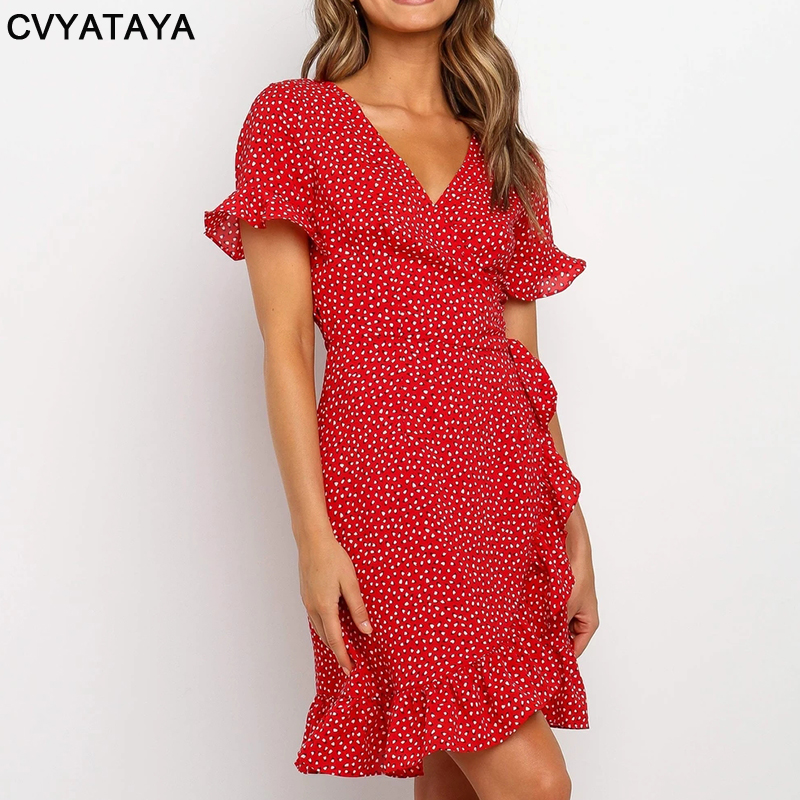 Red Sexy V Neck Floral Print Self Tie Wrap Dress Mini Dress Women Boho Ruffle Hem Flare Sleeve Summer Mini Dresses Vestidos