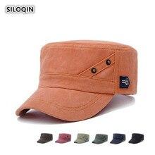 SILOQIN New Unisex Fashion Military Hats Simple Cotton Leisure Flat Cap Gorra Hombre Adjustable Size Brand Sports Couple Hat
