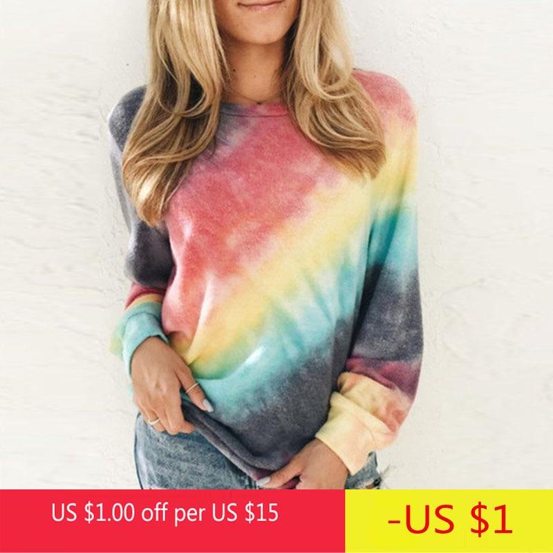 Женская футболка с принтом радуги, Повседневная футболка с длинным рукавом 5XL, большие размеры, новинка, весна-осень, женские свободные топы ...