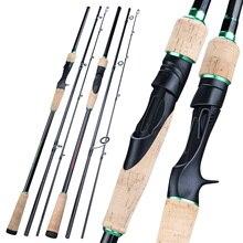 Soogayilang caña de pescar portátil de 3 secciones, caña de pescar ultraligera de carbono de 1,8 2,4 M, para Spinning /Casting, aparejos de mango EVA