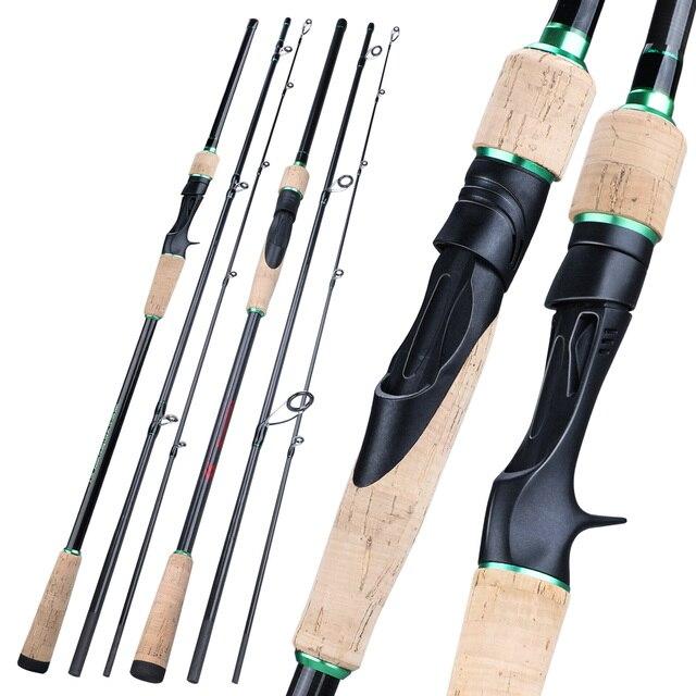 Sougayilang novo 3 seções portátil vara de pesca 1.8 2.4m carbono ultraleve fiação/fundição vara de pesca eva lidar com enfrentar