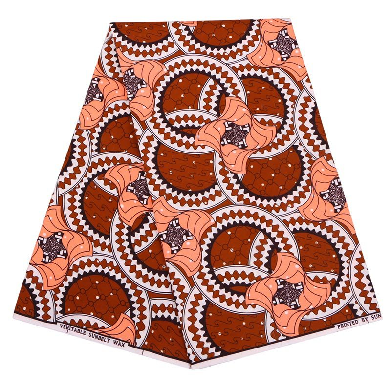 Wax-Fabric Real-Dutch-Wax Print Hollandais 6yard Ankara Nigeria African Brown New-Fashion