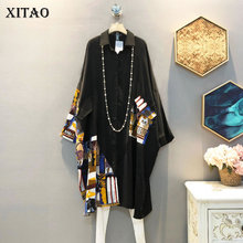 XITAO Korean Style Plus Size Shirt Fashion Loose Vintage Patchwork Women Tops Trend Bat Sleeves Womens Tops and Blouses XJ4754