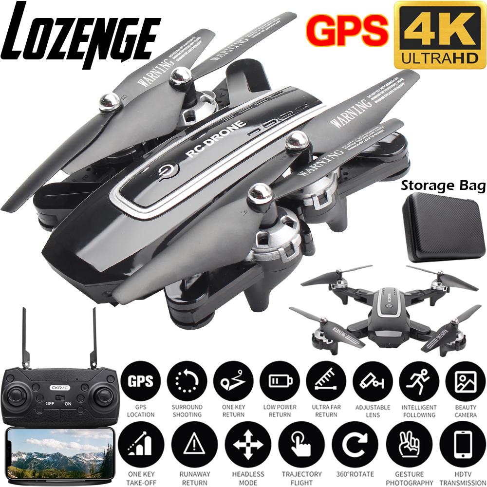 Lozenge HJ38 GPS Drone Follow Me WiFi Quadcopter Helicopter 4K Camera Drone Foldable Altitude Hold RC Drone with camera title=