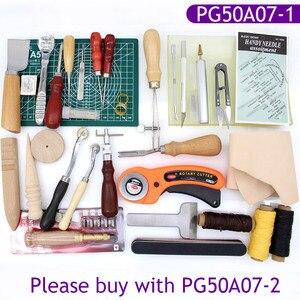 Image 1 - Skórzane przyrządy do szycia DIY zestaw do szycia ręcznego z szydło woskowane naparstki nici do szycia skóry, płótno, podstawowe narzędzia dla początkujących