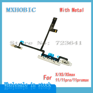 Image 2 - 20pcs/lot Volume Button Flex Cable For iPhone X iX XS 11 Pro Max Mute Switch Control Ribbon with Metal Replacement Parts