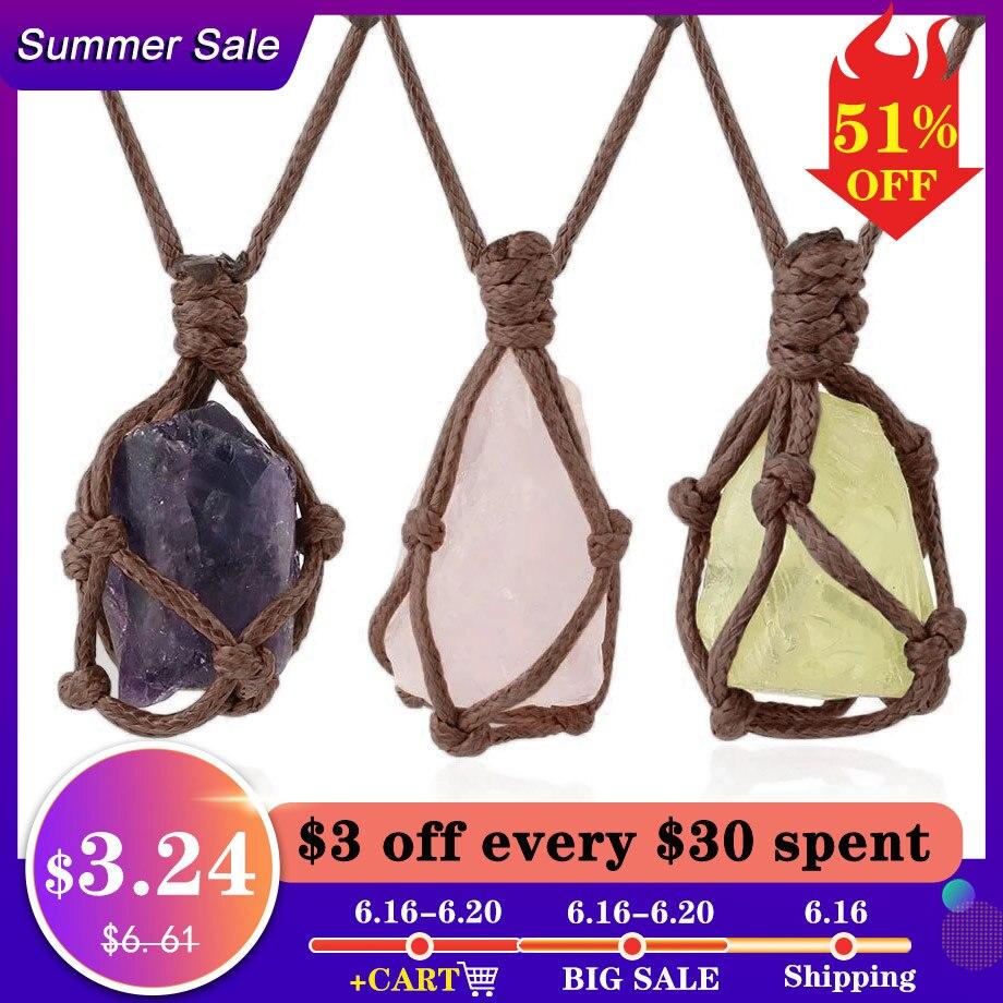 CSJA Natural Stone Rope Wrap Necklace Irregular Rose Crystal Quartz Pendant Necklaces Adjustable Women Girl Vintage Jewelry G317