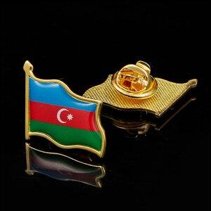 Azerbaijan Country Flag Gold Plated Waving National Lapel Pin Badge Brooch(China)