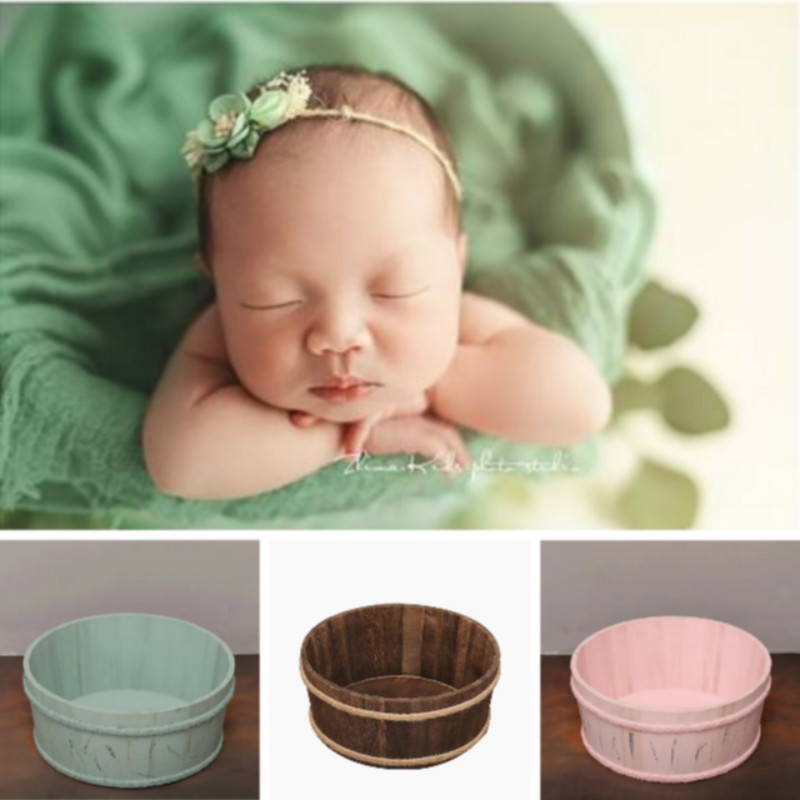 Newborn Photography Props Baby Posing Props Circular Wooden Basin Infant Shoot Container Baby Photo Accessories Creative Props