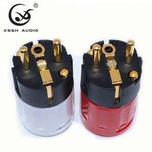 Image 4 - Yivosound HIFI power stecker EU UNS Gold Überzogene Messing Rot Reinem Kupfer Schuko IEC AC power stecker Stecker für power schnur