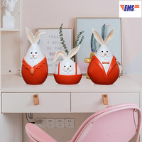 European Style Simulation Q Version A Family Of Three Rabbit Resin Pure Handmade Statue Living Room TV Cabinet Ornament X2938