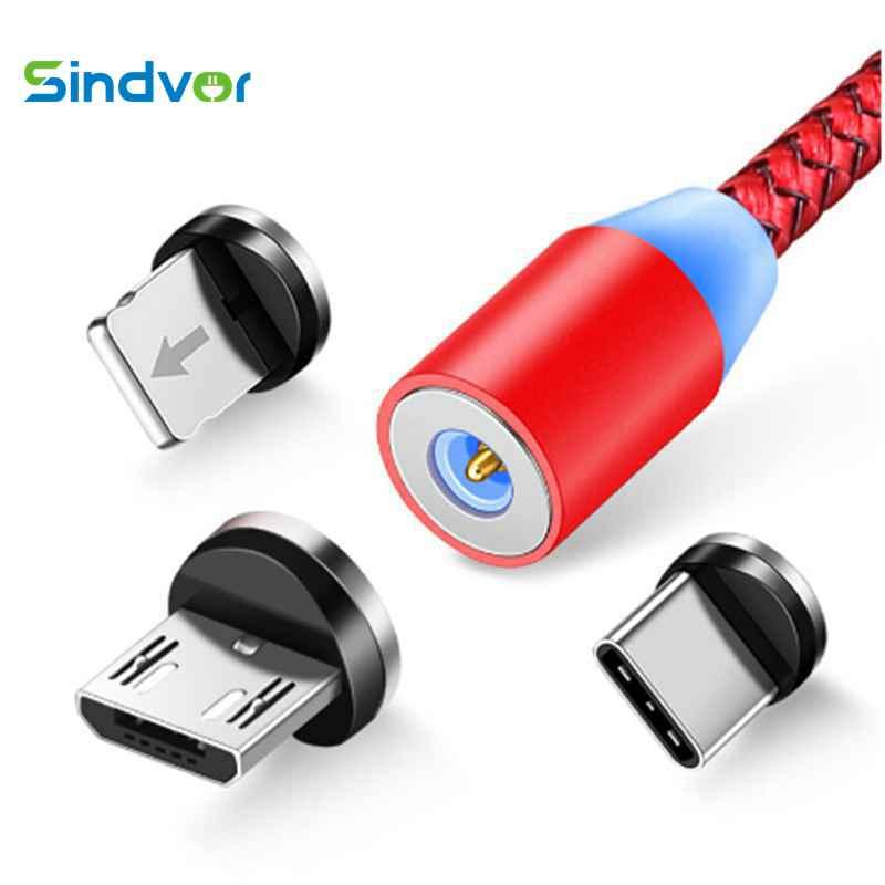 Sindvor 1 м светодиодный магнитный кабель и кабель Micro USB и кабель usb type C нейлоновый Плетеный Тип C магнитное зарядное устройство, кабель для iPhone Xs...