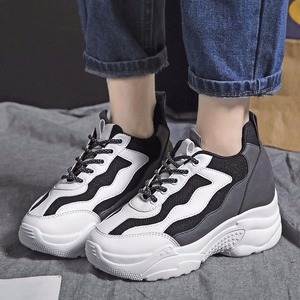 2020 New Casual Women's Sneakers Lace Up Platform Shoes Woman For Thick Soled Vulcanize Shoes Comfortable Foo V11-33