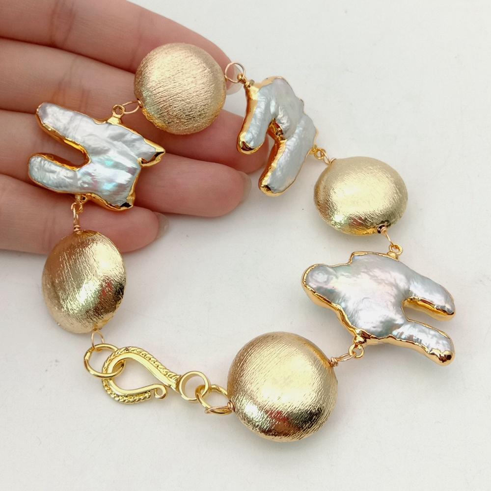 YYGEM-pulsera envuelta de cuentas de monedas cepilladas, chapadas en oro, Perla Keshi de agua dulce natural, 8