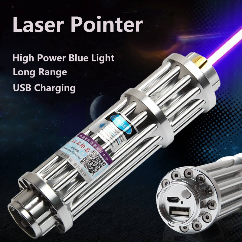 High Power Lengthen Blue Laser Pointers Hunting Ultra Long Distance Laser 450nm Lazer Sight Flashlight Burn Match Cigars Candle
