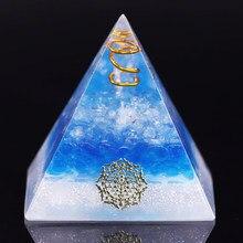 Ile orgon piramidi şifa mavi cam çakıl enerji jeneratörü piramit Emf koruma çakra dengeleme pozitif