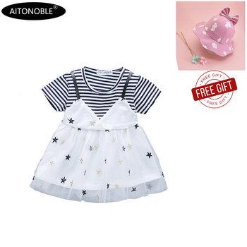Aitono com 2020 nowa wiosna lato dziewczynek płaszcz pół rękawa bawełniana sukienka dziecięca bluzy dzieci princeska tanie i dobre opinie Pasuje prawda na wymiar weź swój normalny rozmiar COTTON ADDL005