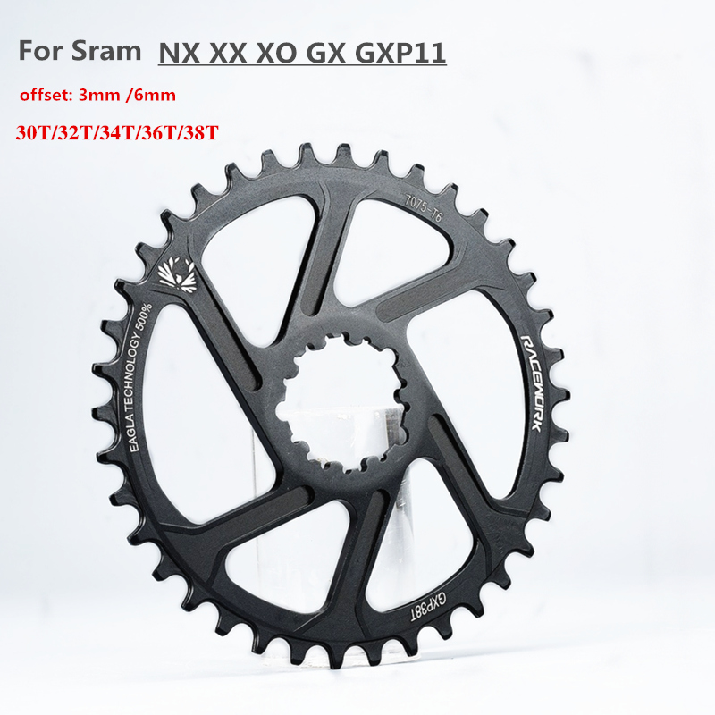 For Sram GXP Crankset MTB Mountain Bike 30T/32T/34T/36T/38T Crown bicycle chainring 11/12S NX SX XX XO GX GXP11 single disc image
