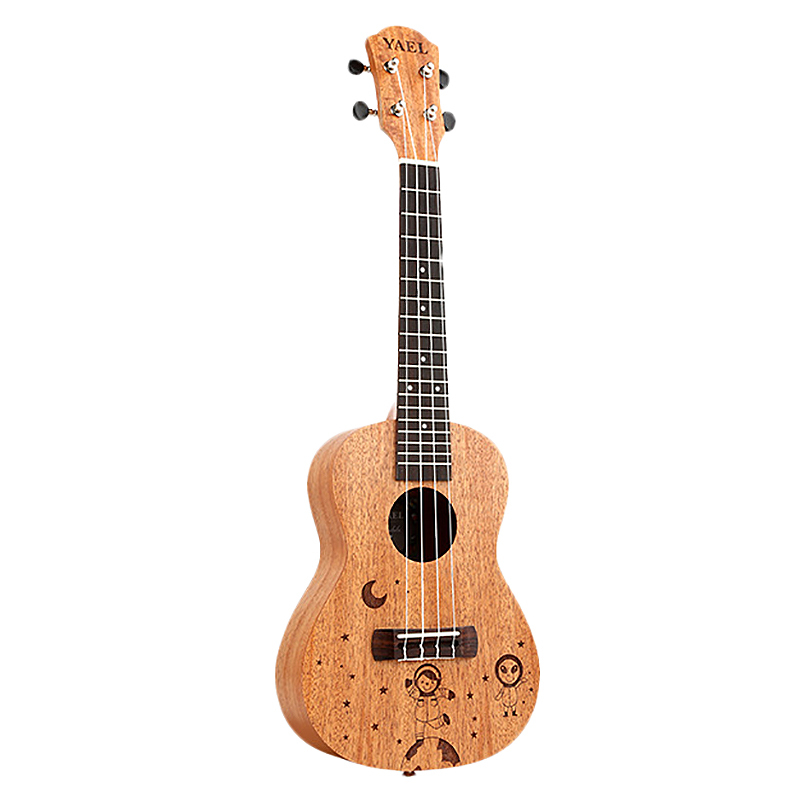 Dropship-Yael 23 Inch Concert Ukulele 4 String Hawaiian Mini Guitar Uku Spacewalk Pattern Acoustic Guitar Mahogany Rosewood Ukel