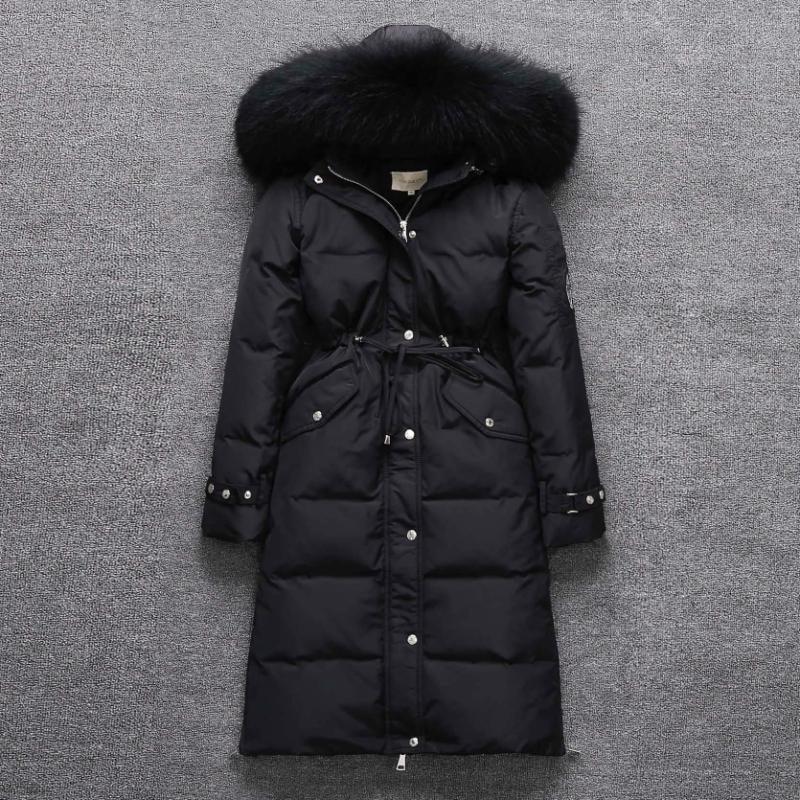 Warm White Duck Down Jacket Real Raccoon Fur Collar Winter Coat Female Hooded Parka Padded Jackets Abrigo Mujer WXF392